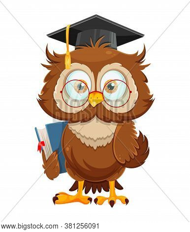 Cute Wise Owl Holding Book. Funny Owl Cartoon Character, Back To School Concept. Vector Illustration