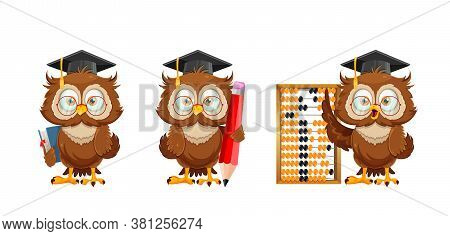 Cute Wise Owl, Set Of Three Poses. Funny Owl Cartoon Character Holding Book, Holding Big Pencil And