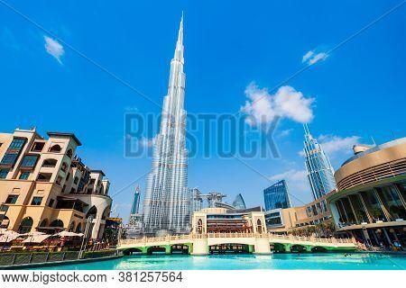 Dubai, Uae - February 26, 2019: Burj Khalifa Or Khalifa Tower Is A Skyscraper And The Tallest Buildi