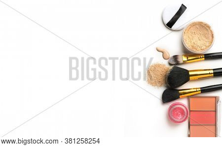 Make-up cosmetics. Face contouring make up, contour. Highlight, shade. Makeup Products, make up artist tools. Foundation, concealer. Trendy glamour makeover product set, isolated on white background.
