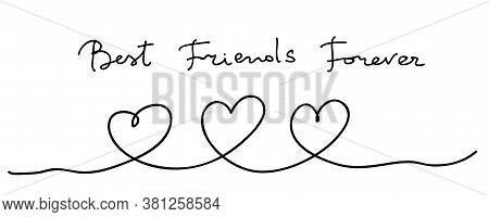 Hearts. Continuous Line Art Drawing. Friendship Concept. Best Friend Forever. Black And White Vector