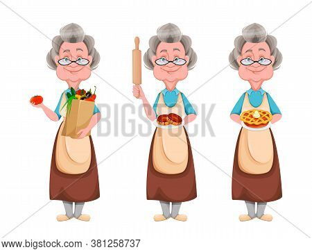 Happy Grandparents Day, Set Of Three Poses. Cute Smiling Old Woman. Cheerful Grandmother Cartoon Cha
