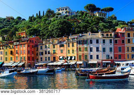 Portofino cityscape, best touristic Mediterranean place with typical colorful buildings and famous luxury harbor, Portofino, Liguria, Cinque Terre, Italy, Europe