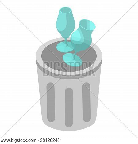 Inorganic Waste Icon. Isometric Illustration Of Inorganic Waste Vector Icon For Web