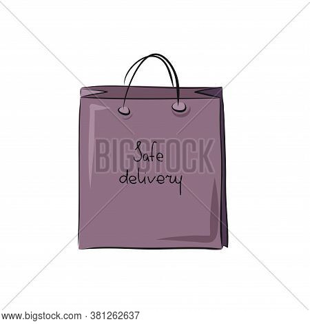 Paper Bag With Purchases Or Food. Safe Food Delivery And Shopping Service During Quarantine Covid-19