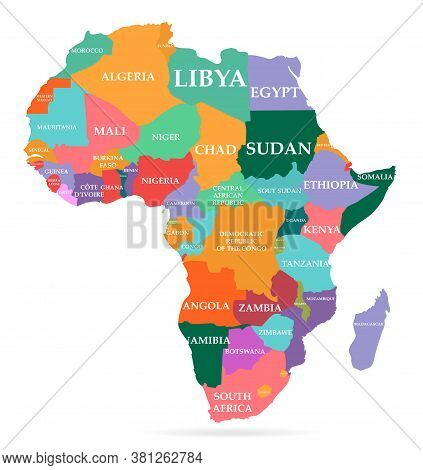 Vector Illustration Of Colorful Map. Africa Continent With Names Of Countries And Borders Isolated O