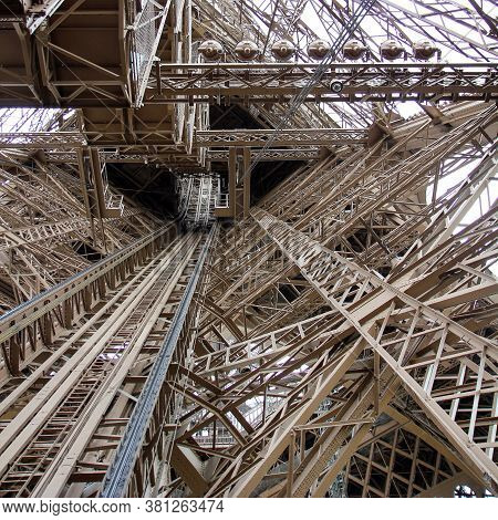 The Design And Construction Of The Eiffel Tower From The Inside. Iron Openwork Beams And Rails For T