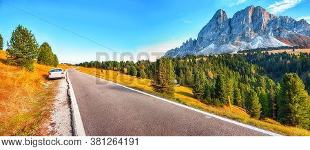 Captivating Autumn  View Of Peitlerkofel Mountain From Passo Delle Erbe In Dolomites.  Location:  Do