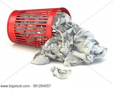 Trash Bin Full Of Crumpled Paper 3d Render Illustration Isolated On White Background