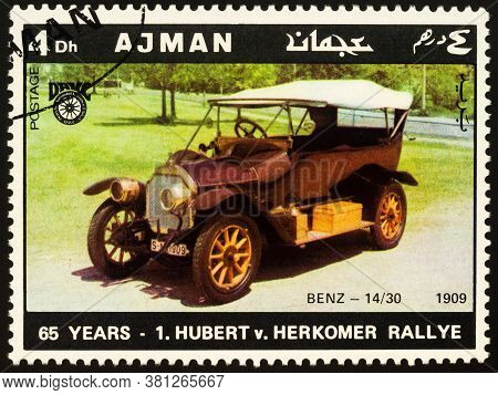 Moscow, Russia - August 17, 2020: Stamp Printed In Ajman Shows Old Car Benz 14/30,  (1909), Dedicate