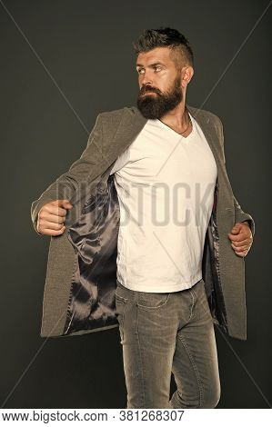 Menswear. Hipster Wear Comfy Outfit. Caucasian Man With Brutal Appearance. Bearded Man With Moustach