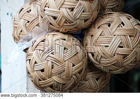 Rattan Ball Hanging In A Bunch, It Is A Local Sport Of Southeast Asian People. In Myanmar Called
