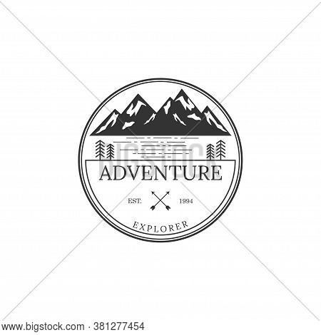 Vintage Badge Of Mountain Expedition Adventure Logo