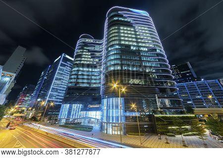 Street Of Downtown Od Hong Kong City At Night