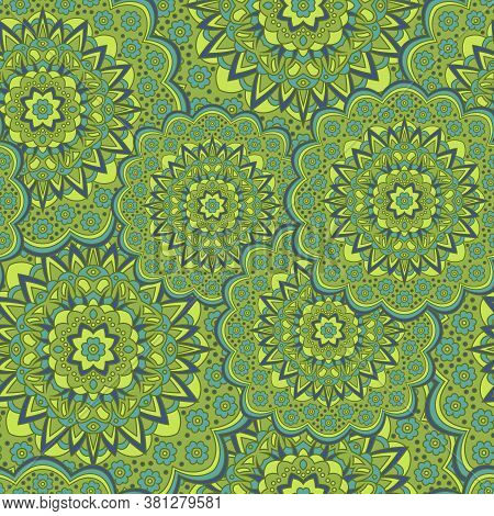 Persian Medallion Flower Seamless Ornament Vector Graphic Design. Pattern Template For Shawl. Lovely