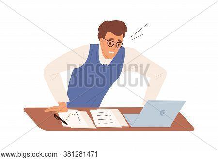 Business Male Feeling Stress Having Problem At Work Vector Flat Illustration. Man Office Worker Worr