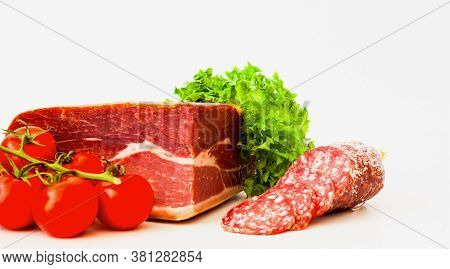 Authentic Italian Prosciutto Dry-cured And Cheddar Cheese On White Isolated Background. Air-dried Ha