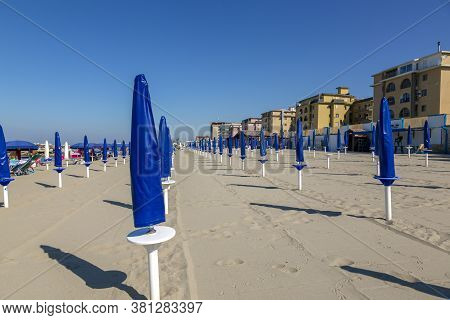 Castel Volturno, Italy - August 20 2019: View Of The Morning Beach By The Sea In The City Of Castel