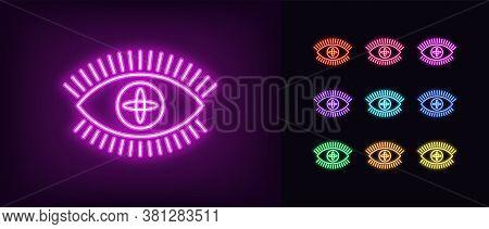 Neon Magic Eye Icon. Glowing Neon Eye Sign With Galaxy Iris, Spiritual Vision In Vivid Colors. Mysti