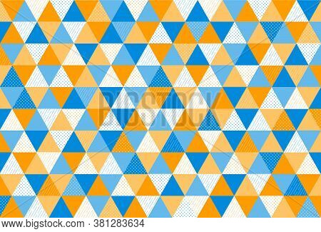 Abstract Modern Geometric Pattern With Blue And Orange Triangle For Background. Element Design With