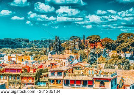 View From The Roman Forum And Palatine Hill(collina Del Palatino ) On Top Of Rome.
