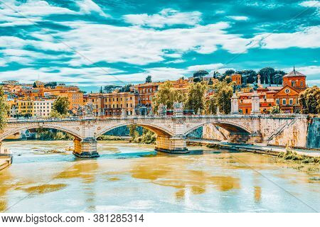 Sant'angelo (eliev) Bridge ( Ponte Sant'angelo) In Centre Of Rome, Italy.