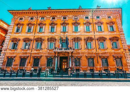 Rome, Italy- May 09, 2017:  Beautiful Landscape Of Madama Palace (palazzo Madama). Palazzo Madama  I