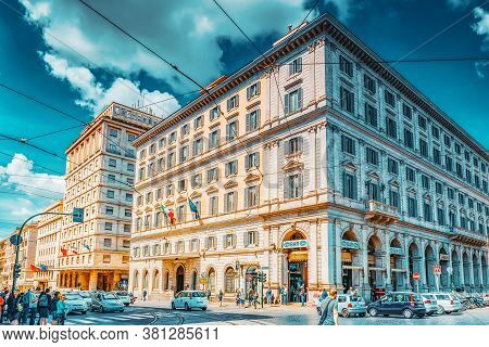 Rome, Italy- May 10, 2017:  Beautiful Landscape  Urban And Historical View Of The Rome, Street, Peop