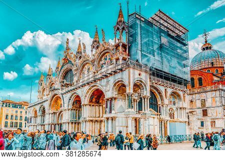 Venice, Italy - May 11, 2017 : Square Of The Holy Mark (piazza San Marco) And St. Mark's Cathedral (