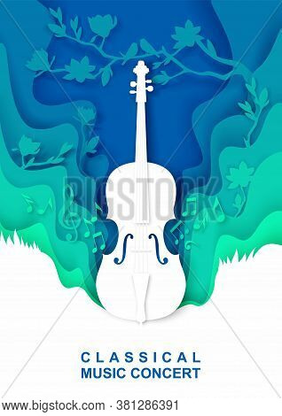 Vector Paper Cut Craft Style Music Composition For Violin Classical Music Concert Poster Banner Flye