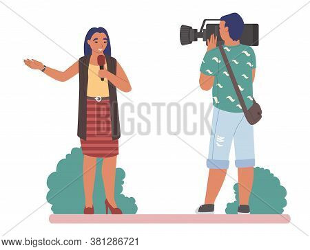 Tv Journalist Or News Reporter Speaking With Microphone Before Cameraman In The Street, Flat Vector