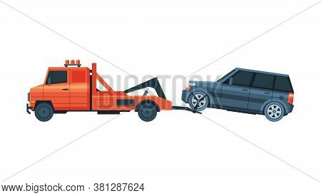 Tow Truck Transporting Car, Evacuation Vehicle, Road Assistance Service Flat Vector Illustration