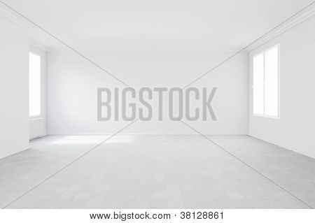 Empty Room With Two Windows