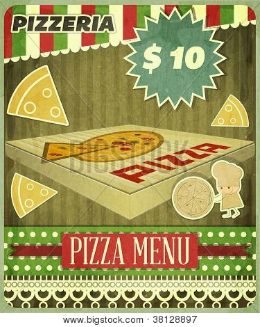 Vintage card Menu for Pizzeria - vector illustration poster