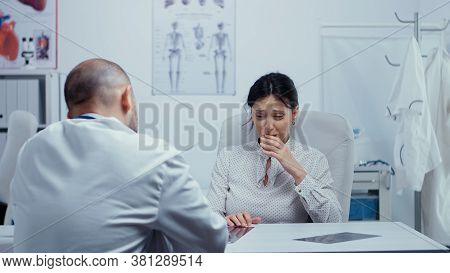 Woman At Doctor Hearing News About Her Incurable Disease, She Starts Crying, Is Lost, Depressed. Bad