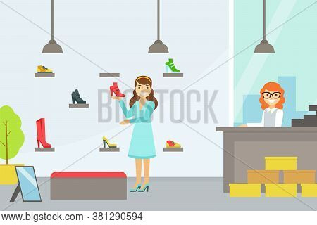 Girl Choosing And Bying Footwear, Women Shoes Shop With Saleswoman And Customer And Footwear On Shel