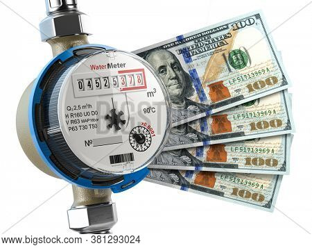 Water meter with dollar money. Water consumption, cost of utilities and saving concept. 3d illustration