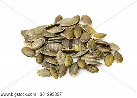Close Up Of Pumpkin Seeds Isolated On White Background