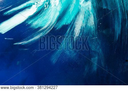 Ink Water. Ocean Wave. Persian Blue White Paint Splash With Grain Marble Texture. Sea Storm Creative