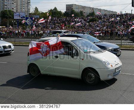 Minsk Belarus - 08.15.2020: Protest Against Lukashenko Dictator. Peaceful Protest. National Symbols