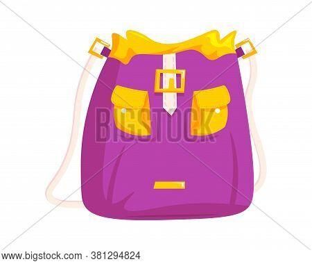 Woman Bucket Bag. Isolated Female Fashion Accessory. Beautiful Woman Handbag Glamour Style Design Wi