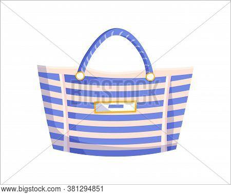 Striped Beach Bag. Isolated Female Fashion Accessory. Beautiful Woman Trapeze Handbag Glamour Style
