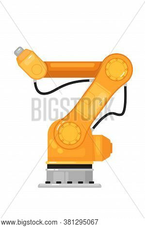 Industrial Robot Arm. Isolated Yellow Robotic Arm Automation Icon. Industrial Mechanical Robot Hand.