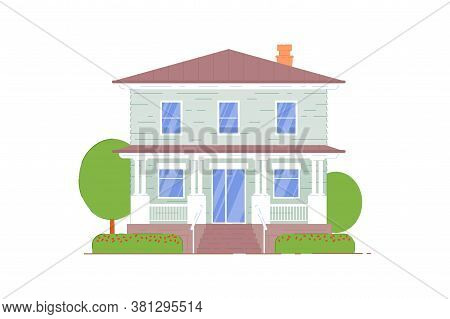 Family House. Two-storied Family House Building Icon Isolated On White Background. Traditional Vecto