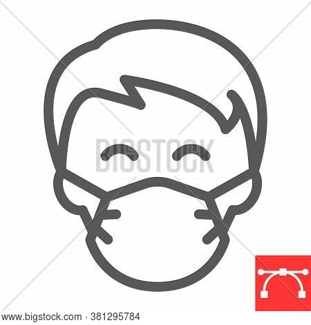 Man In Face Mask Line Icon, Coronavirus And Covid-19, Wearing Mask Sign Vector Graphics, Editable St