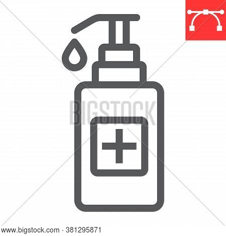 Hand Sanitizer Line Icon, Protection And Covid-19, Antiseptic Sign Vector Graphics, Editable Stroke
