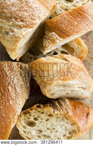 Sliced Bread From Wheat And Rye Flour, Light Bread, Cut Into Pieces