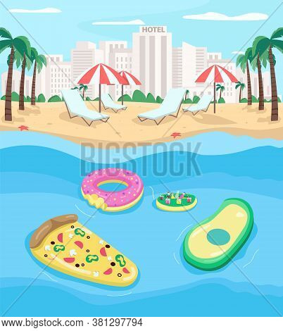 Tourist Beach Flat Color Vector Illustration. Pizza, Avocado Pool Floats. Summer Vacation. Relaxatio