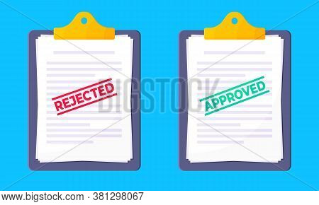 Clipboard With Rejected And Approved Claim Or Credit Loan Form, Paper Sheets And Stamps Flat Style D