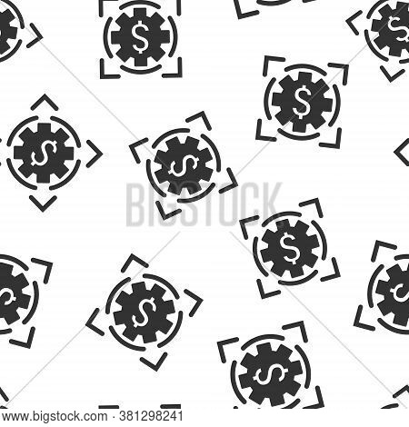 Money Revenue Icon In Flat Style. Dollar Coin Vector Illustration On White Isolated Background. Fina